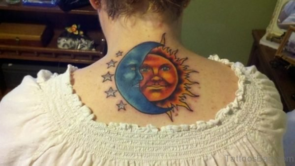 Sun And Moon Tattoo On Back