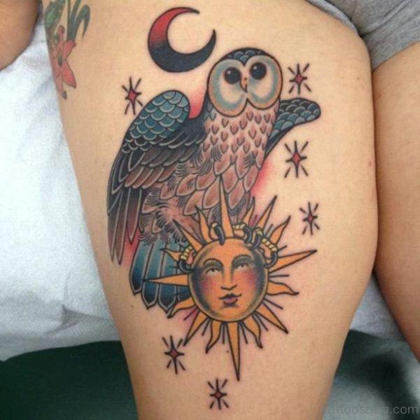 Sun And Owl Tattoo