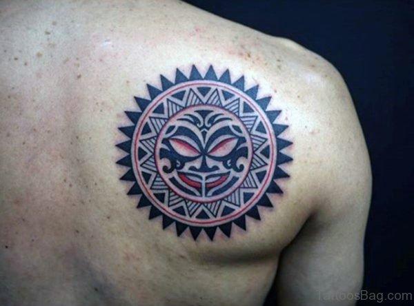 Sun Tattoo On Right Back