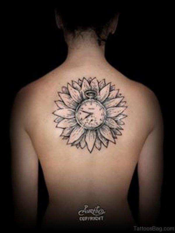 Sunflower And Clock Tattoo
