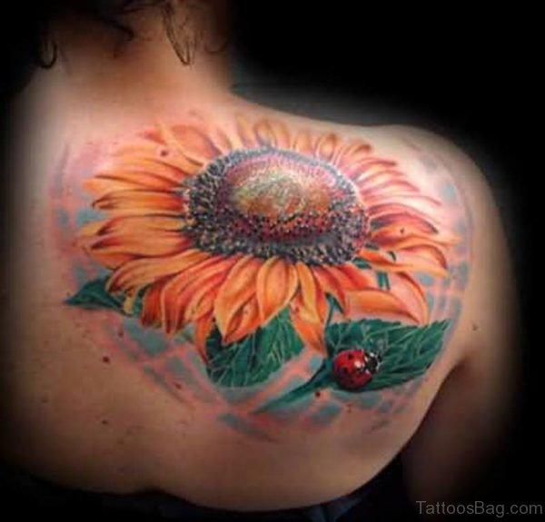 Sunflower  And Ladybug Tattoo