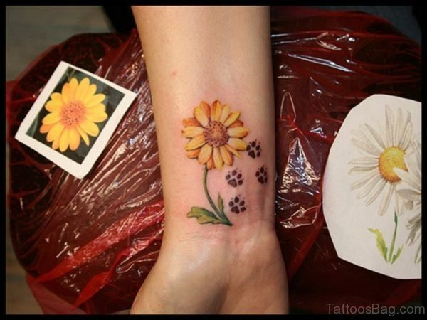 Sunflower And Paw Tattoo