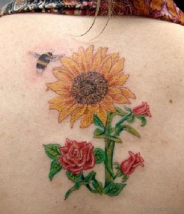 Sunflower And Rose Tattoo On Back