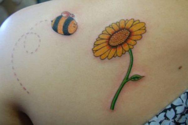 Sunflower & Bumblebee Tattoo On Back