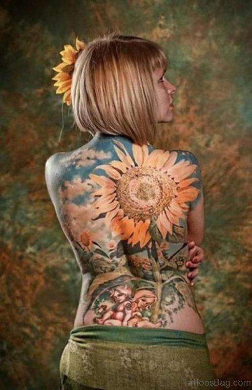 Sunflower Full Back Tattoo