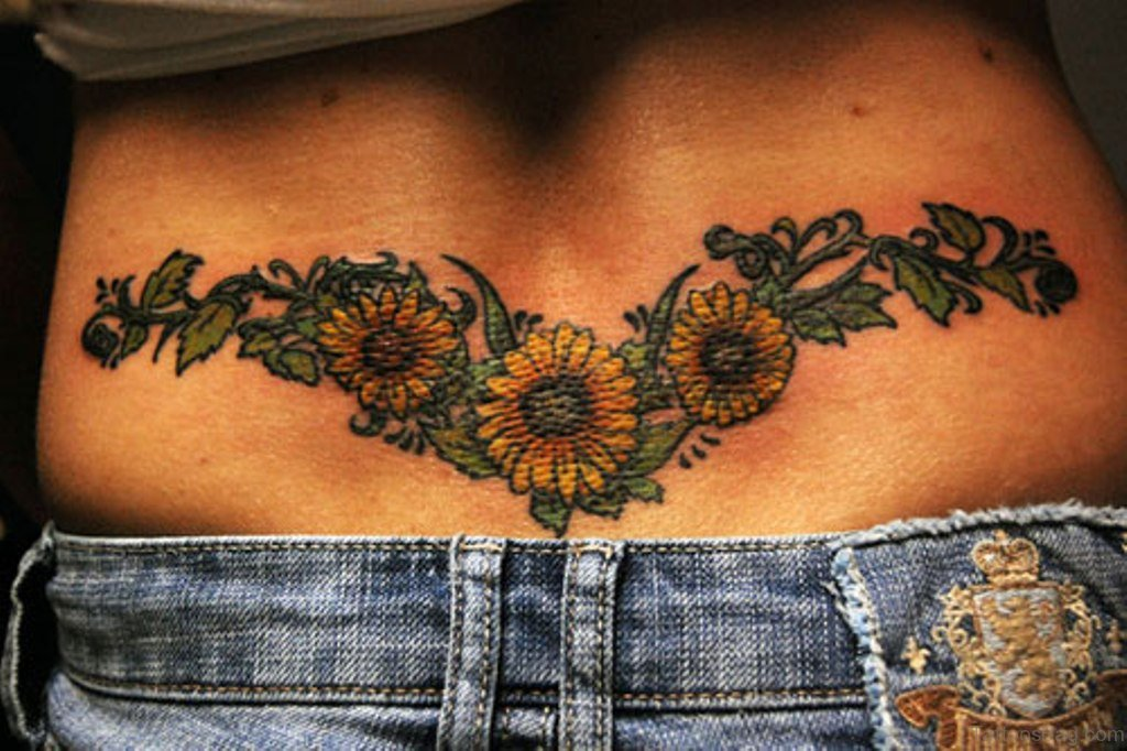 85 pretty sunflower tattoos designs for back for Lower back tattoo designs