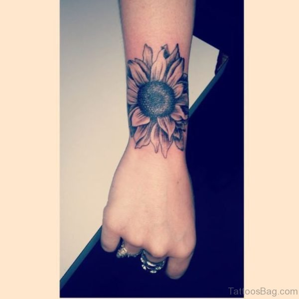 Sunflower Tattoo Design On Wrist