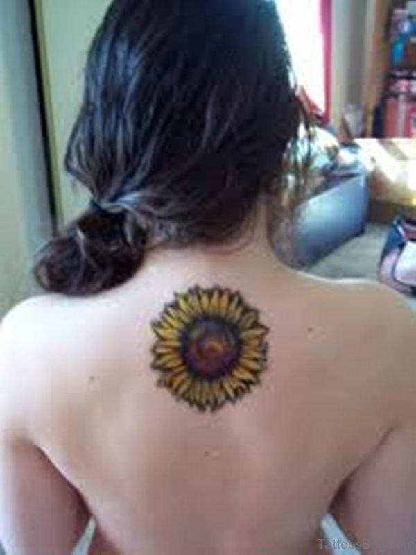 Sunflower Tattoo On Upper Back
