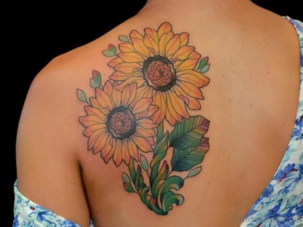 Sunflower With Green Leaves Tattoo