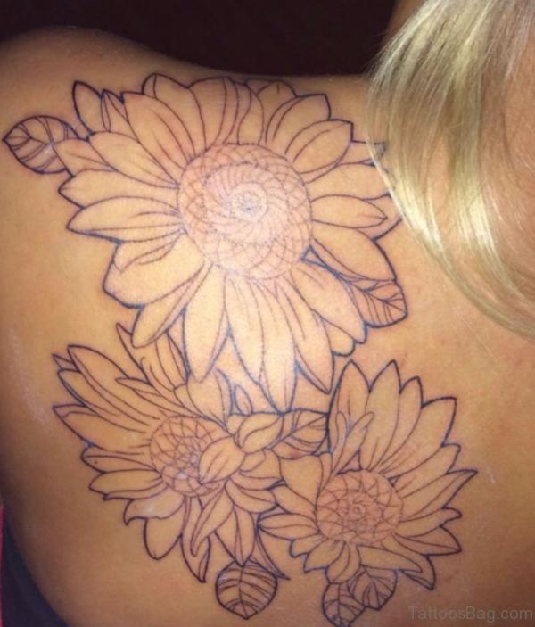 Sunflower Tattoo Design On Back