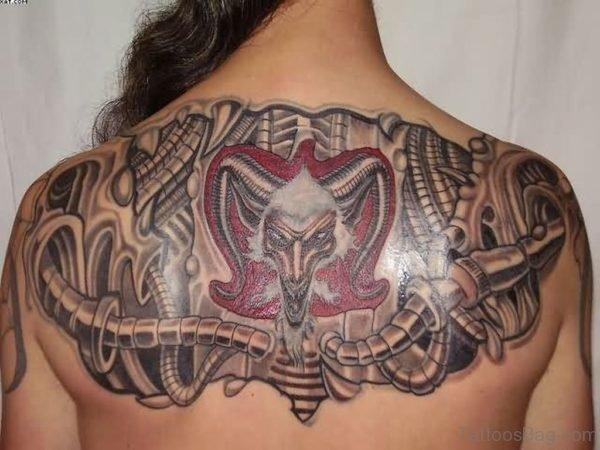 Superb Biomechanical Tattoo On Upper Back