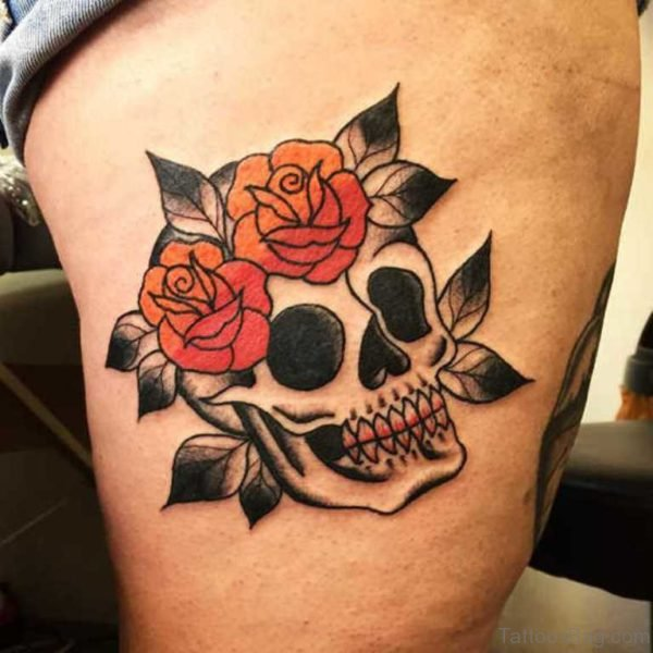 Supreme Skull Rose Tattoo
