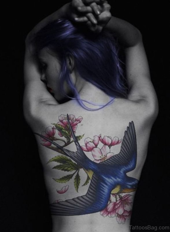 Swallow And Flower Tattoo