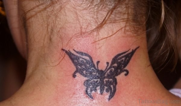 Sweet Black Butterfly Tattoo On Neck