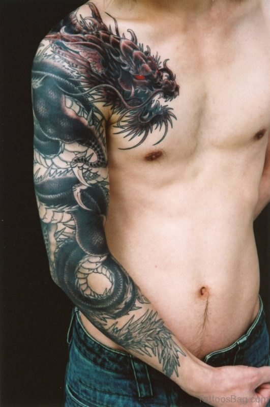 Sweet Black Dragon Tattoo On Right Shoulder