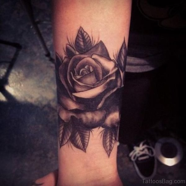 Sweet Black Rose Tattoo On Wrist