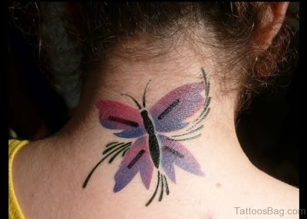Sweet Butterfly Tattoo On Neck