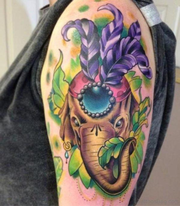Sweet Colored Elephant Tattoo