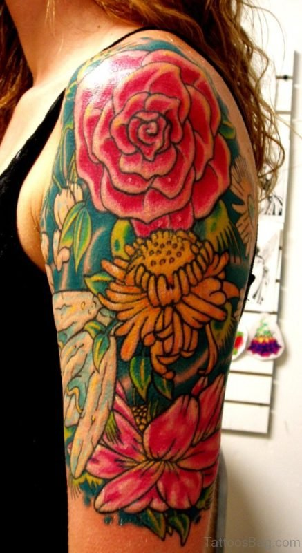 Sweet Colorful Flowers Tattoo Design