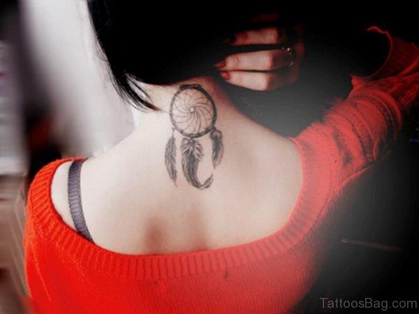 Sweet Dreamcatcher Tattoo On Neck