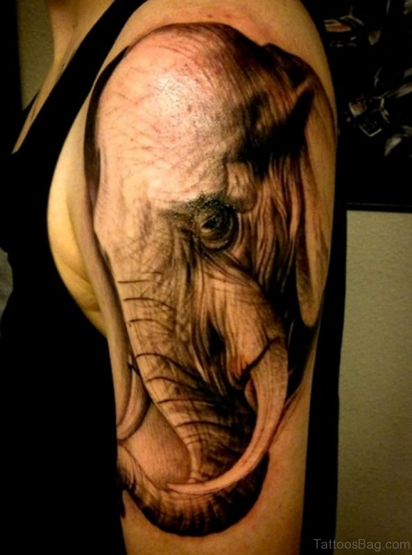 Sweet Elephant Tattoo On Shoulder