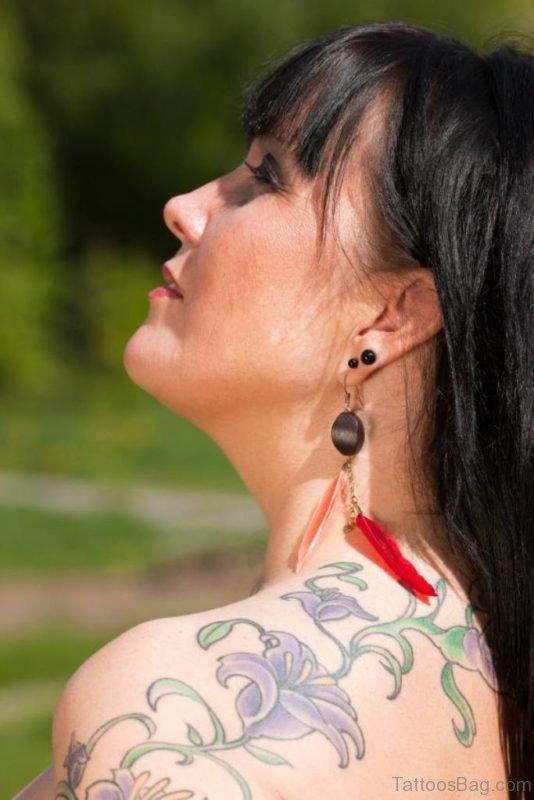 Sweet Flower Vine Tattoo On Shoulder