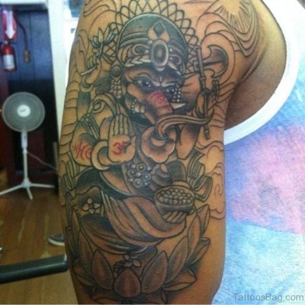 Sweet Ganesh Ji Tattoo On Shoulder