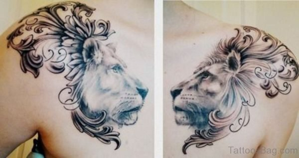 Sweet Grey And Black Lion Tattoo