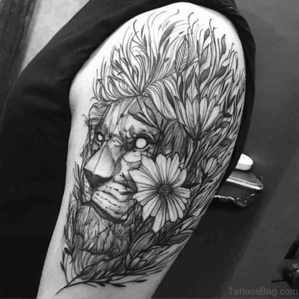 Sweet Lion Shoulder Tattoo