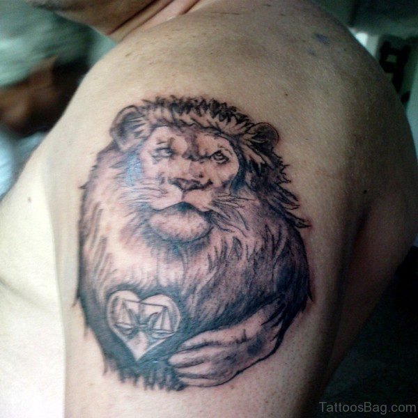 Sweet Lion Tattoo On Left Shoulder