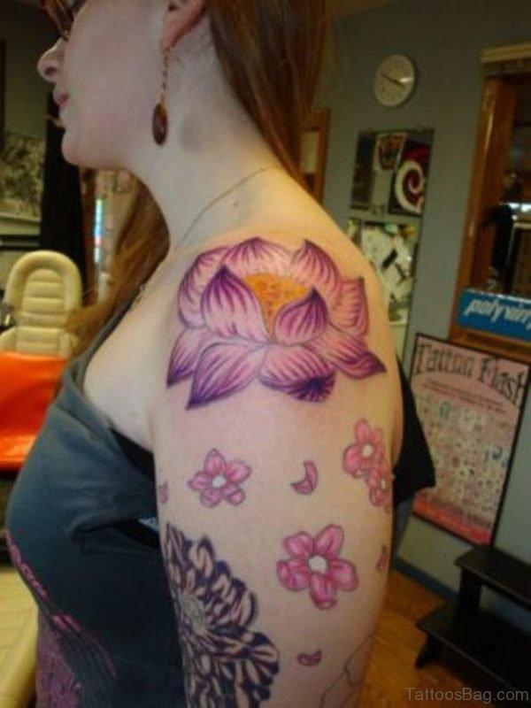 Sweet Lotus Tattoo On Left Shoulder Tattoo