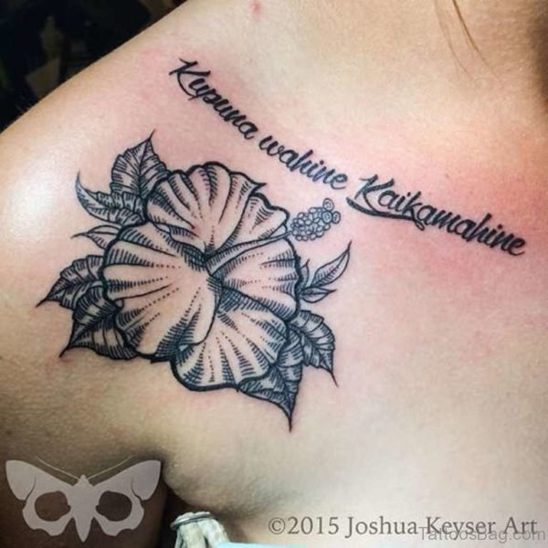 Sweet Lovely Flower Tattoo On Shoulder