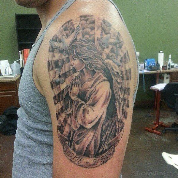 Sweet Praying Angel Shoulder Tattoo Design