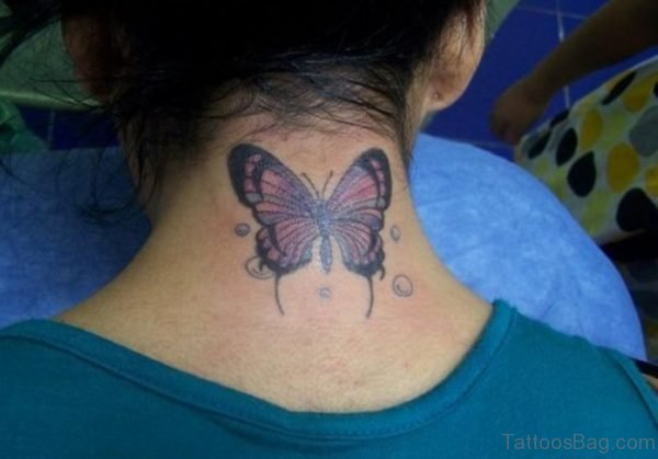 Sweet Purple  Butterfly Tattoo On Neck