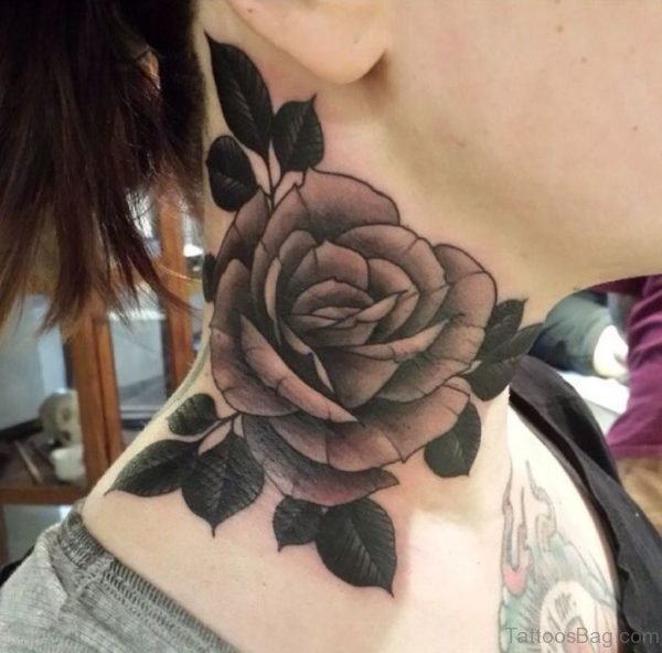 Sweet Rose Tattoo On Neck