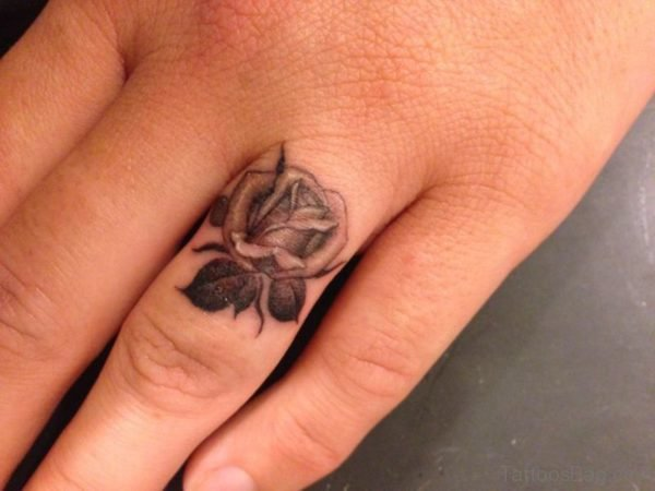 Sweet Rose Tattoo On Ring Finger