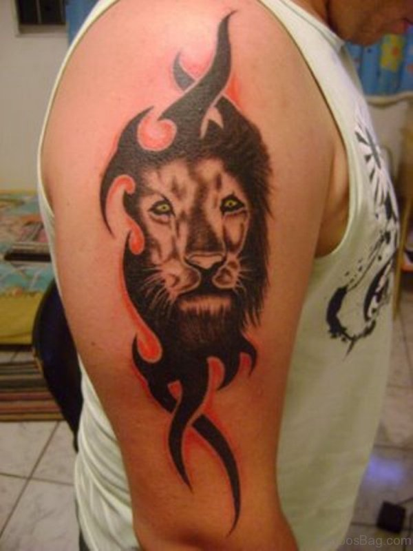 Sweet Tribal Lion Face Tattoo