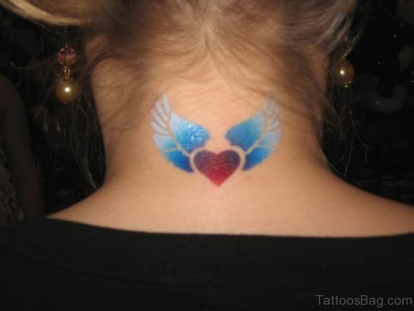 Sweet Winged Heart Tattoo On Neck