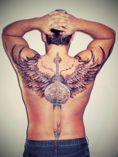 Sword And Angel Wings Tattoo