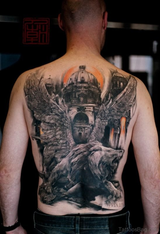 Temple And Lion Tattoo'