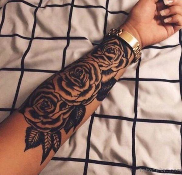Three Black Roses Tattoo On Wrist