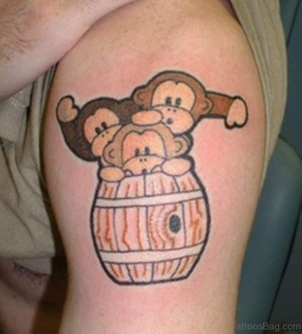 Three Cute Monkeys Shoulder Tattoo