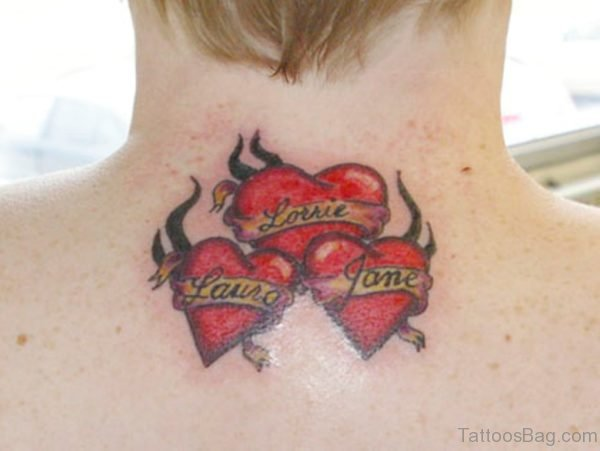 Three Red Heart Neck Tattoo