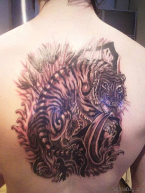 Tiger Tattoo Design On Back