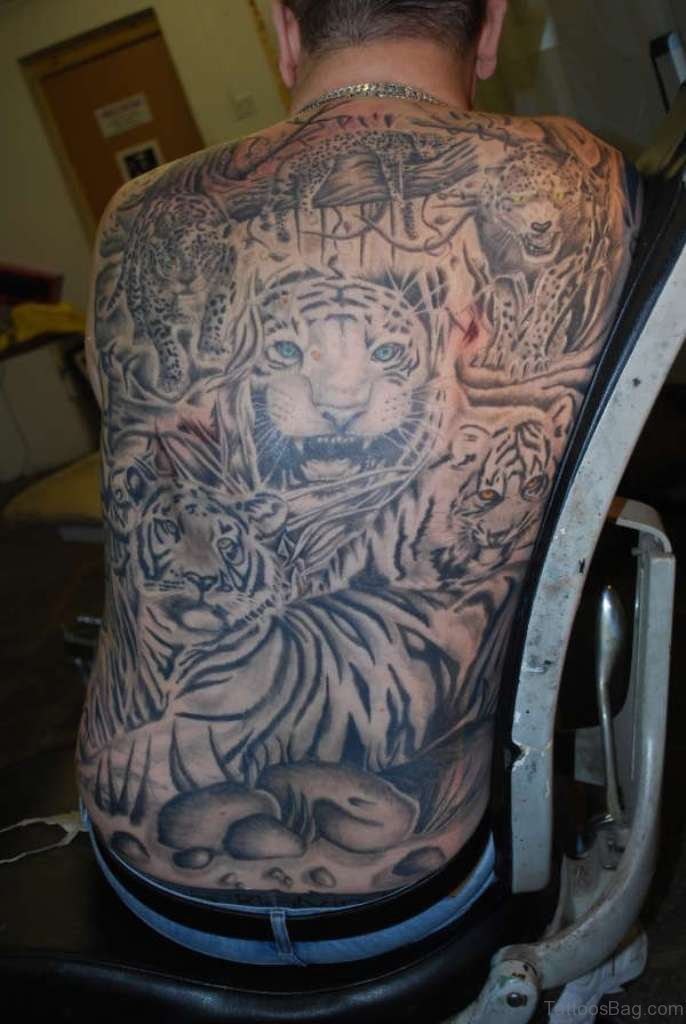 Tiger tattoo on back