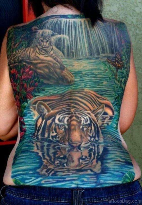 Tiger Tattoo On Lower Back