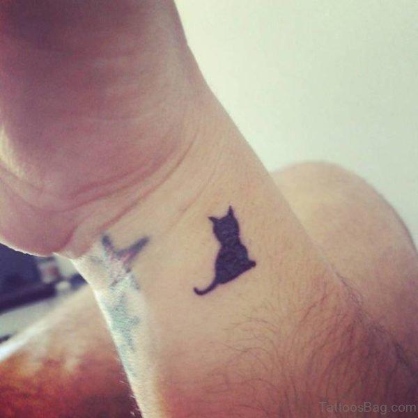 Tiny Black  Cat Tattoo