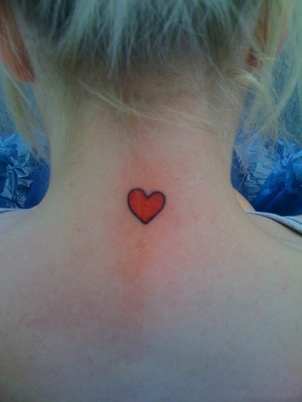 Tiny Red Heart Neck Tattoo