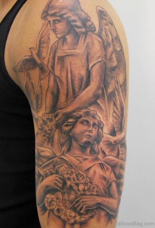 Traditional Angel Shoulder Tattoo