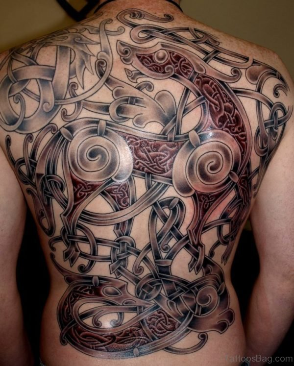Traditional Viking Tattoo On Full Back